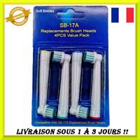 Tête de brosse à dents électrique de remplacement 4 pièces SB17A brossette doux