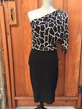 MARIA BIANCA NERO NWT One Shoulder Dress Size S Giraffe print Chiffon Satin Sexy