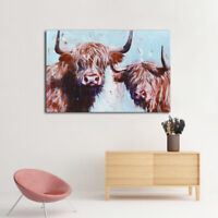 Highland Cow Canvas Printing Pictures Canvas Wall Art Decor Unframed 55cmx40cm