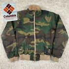 Vintage Columbia Canvas Woodland Camo Full Zip Radial Sleeve Mens Outdoor Jacket