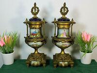 PAIR antique Sevres porcelain Vases urns hand paint romantic decor 19thc