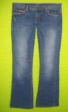 Ralph Lauren Whitney Repair Patch sz 8 x 33 Womens Blue Jeans Denim Pants EW10