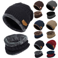 Women Men Kids Winter Knitted Scarf and Hat Set Warm Knitting Thicken Skullcaps