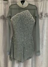 brad griffies Ice Skating Dress Size 4 Womans Swarowski Crystals Gray