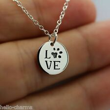 LOVE PAW NECKLACE - 925 Sterling Silver Paw Charm Necklace Pet Dog Cat Animal