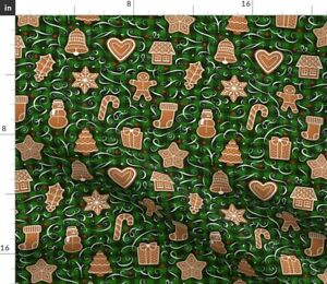 Christmas Cookies Gingerbread On Plaid Green Spoonflower Fabric by the Yard