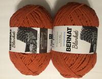 Lot Of 2 Bernat Blanket Yarn PUMPKIN SPICE 10630 Super Bulky 100% Polyester 220Y