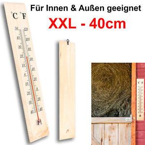 XXL Thermometer Außen Innen Holz Außenthermometer Analog Raum Gartenthermometer