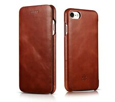 NOVADA iPhone 7 Case Genuine Leather Flip Cover Vintage Collection Tan