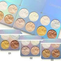 4 Colors Highlighter Makeup Shimmer Powder Palette Bronzer Contour Face G6W2