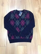 FRED PERRY V NECK ARGYLE KNITWEAR.NAVY.LARGE