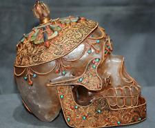 Tibet Crystal Filigree Inlay Gem Turquoise Skull Skeleton Head Worship Statue
