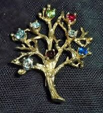 Family Tree  Brooch, Marked Sterling on Back, Gold Plated, BOOK PIECE, Figural