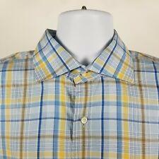 Peter Millar Mens Blue Yellow Plaid Check Dress Button Shirt Sz Large L