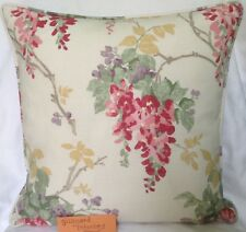 "2 X Laura Ashley Fabric Piped Cushion Covers Wisteria Cranberry 16"" X 16"""