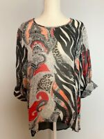 Chico's Womens Tunic Top Blouse Size 2 Black Red Paisley Scoop Neck Sheer Slit