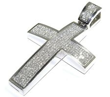 14k White Gold 16.00ct Princess Cut White Diamond Sleek Cross Pendant 96.5 Grams
