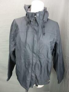 REI SIZE S WOMENS GRAY FULL ZIP NYLON OUTDOOR HOODED RAIN JACKET T048