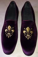 Handmade men velvet shoes, embroidered Velvet shoes for men, Purple casual shoes