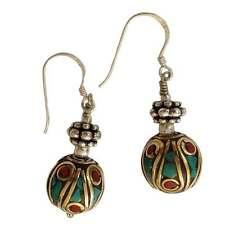 Turquoise Inlay Earrings - Handmade in Nepal - Fair Trade