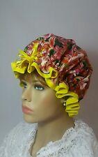 Shower Cap/Women's Waterproof Designer Shower Cap *Handmade* Lilies & Yellow
