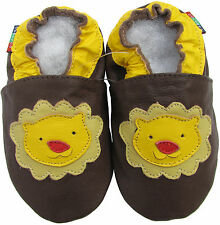 shoeszoo soft sole leather baby shoes lion dark brown 6-12m S