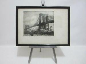 Brooklyn Bridge NY FLORICE WIDEMAN Listed Artist CA & NY Vintage Etching Print