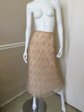 CITY DKNY NEW! Beige/Pink Floral 100% Silk Fully Lined Midi Skirt Sz 4 NWOT!