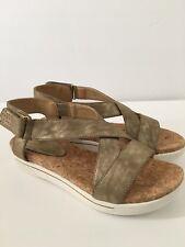Adrienne Vittadini  Sport Women's Celie Suede Platform Sandals Size 7.5 Taupe