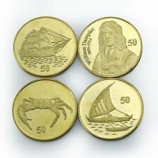 Christmas Island, Set of 4 Coins, Ship, Sailboat, Crab, William Dampier 2016