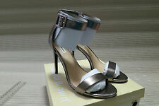Isabella Brown Leather High Heels Ankle Strap  Pewter Metallic Colour   Size 8.5