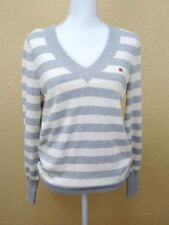 Polo Ralph Lauren Womens Sweater Large Gray White Striped V Neck Ribbed Sleeve