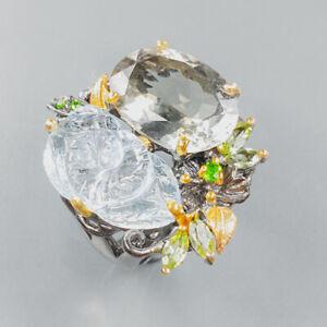 Handmade Design Green Amethyst Ring Silver 925 Sterling  Size 8.5 /R165792