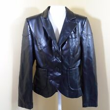 Last Kiss WOMEN'S Leather Jacket Black Fitted size Medium Button up w/ Pockets