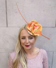 Gold Orange Sequin Orchid Flower Fascinator Pillbox Hat Races Wedding Hair 4017