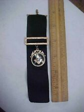 Masonic Black Ribbon Medallion Fob Vintage Antique Gold Fill Enameled