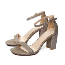 Womens Ankle Strap Sandals Block Low Heel Ladies Peep Toe Strappy Shoes Size New