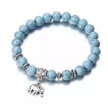 UK TURQUOISE STONE ELEPHANT BEAD BRACELET Natural Gemstone Jewellery Healing