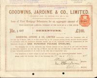Goodwins Jardine & Co > 1889 Scotland stock certificate