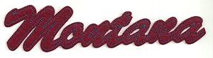 "1 3/4"" x 7 1/2"" Burgundy Script Montana Athletic University Chenille Patch"