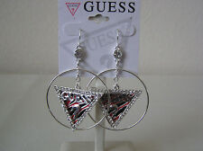 Guess Brand Silver Tone Guess Addict Coll. Hoops w/Crystal Triangular Dangles