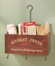 Walnut Wood Kitchen Wall Crates Garden Tools Holder Mail Organizer Keys Holder