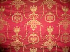 SCALAMANDRE NEOCLASSICAL POMPEIIN MEMORIES SILK DAMASK FABRIC 10 YARDS RED GOLD