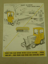 VINTAGE ORIGINAL SUBURBAN CAB SPEC SHEET for WHEEL HORSE TRACTORS & SNOWBLOWERS