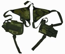 Woodland Camo Double Shoulder Holster w/Clip Pouch BB Airsoft Pistol Gun 208CA