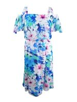 Nine West Women's Floral-Print Cold-Shoulder Dress 10, Candy/Ice Blue Multi