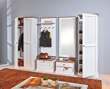 6-tlg Garderobenset Garderobe Massivholz 2-farbig weiß sepia Landhaus L-Wendy-G1