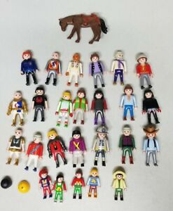 Vintage Playmobile Figure Lot of 25 Figures With Horse And Accessories