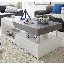 Tuna Extendable Coffee Table In Matt White And Concrete Effect