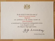 More details for custom ww2 / wwii mention in despatches certificate + personlised inscription